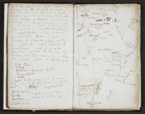 Samuel Taylor Coleridge notebook, with map.