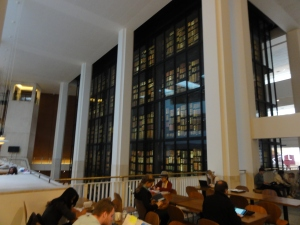 The King's Library. An extensive glass room containing the library of King George III. Inside the main concourse of the British Library.