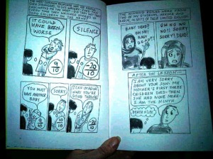 Open book showing graphic story Billy Me and You by Nicola Streeten