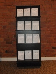 the Nottingham Poetry Society 70th anniversary anthology. Books on bookstand