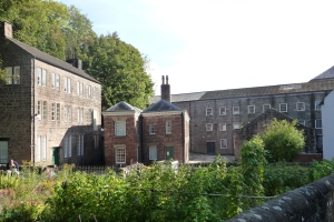 Cromford Mill, with the 1771 mill to the right. (Missing two storeys which were burnt down.)