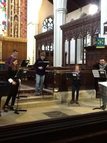 Cast Lucy Williams (mezzo), Ed Grint (baritone), Julian Podger (tenor), Emily Philips (soprano) and Andrew Radley (countertenor) in rehearsal at St Michael's Highgate
