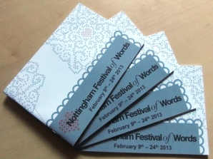 Nottingham Festival of Words events brochures. The finished product.