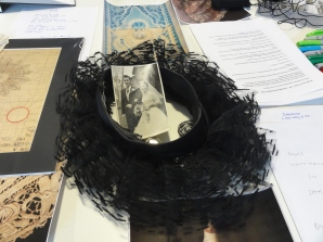 A frilly 1950s hat and a photo of Deborah's parents' wedding