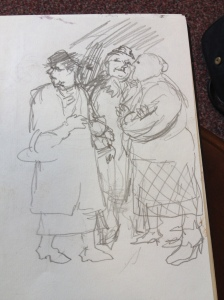Sketch for the group of gossiping women