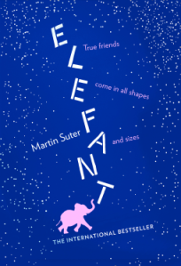 Book Cover of Elefant. The words elegant are arranged vertically above an image of a small pink elephant