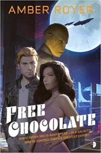 Cover of Free Chocolate showing a young man an woman with a reptilian alien behind them