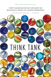 Think Tank book cover with multicoloured marbles surrounding the plain black words Think Tank