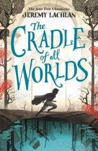 Cradle of all worlds book cover showing a silhouetted figure running past a turquoise lake and with stylised trees