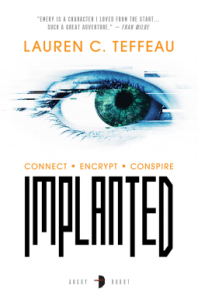 Implanted book cover. A white background with a blue eye in the centre.
