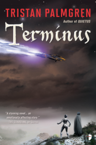 Book cover of Terminus showing a spaceship with blue afterburners and two figures on the ground watching it, one a black shiny humanoid another wrapped in a black cloak.