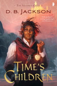 Book cover of Time's Children with a red-haired man standing holding a type of fob watch.