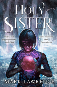 Holy sister book cover showing a young woman holding a red, glowing orb