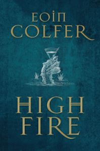 Book cover for Highfire showing a scaly hand emerging from the water with a cocktail glass